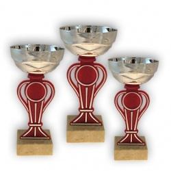 Наградной кубок серебряного и красного цвета