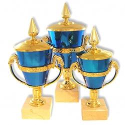 Оригинальный кубок с ручками в форме древнегреческого кубка синего цвета