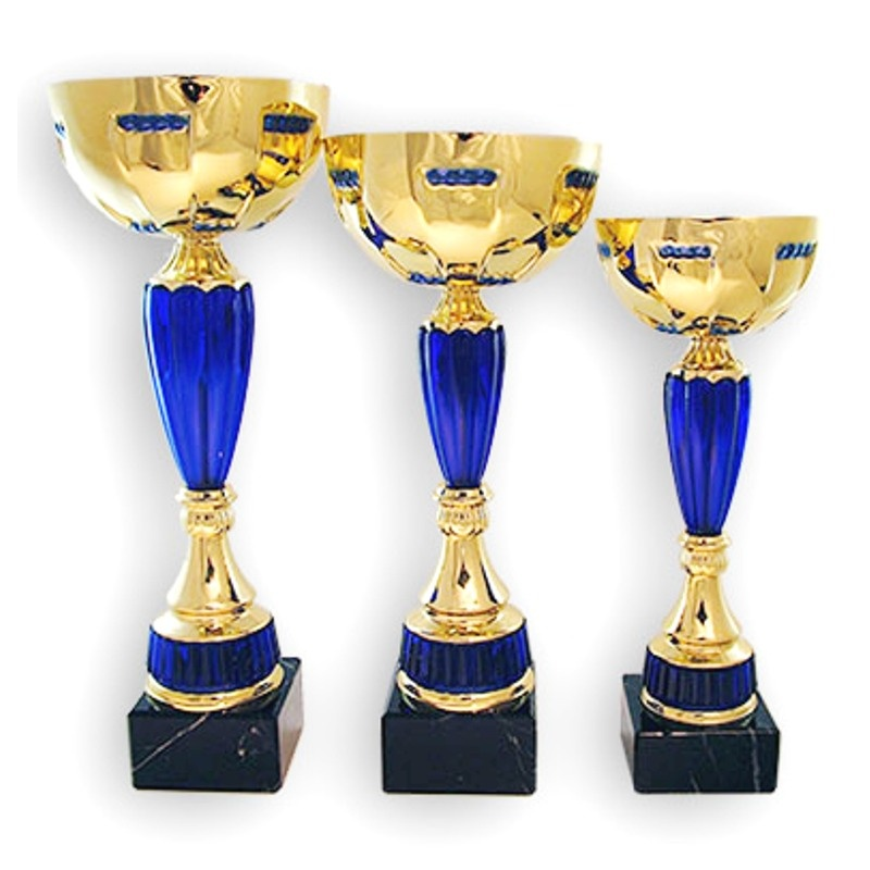 gold and blue trophy cup