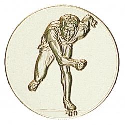 Pastille dorée patins à roulettes